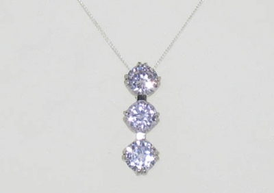 925 STERLING 3 CZ DROP PENDANT.