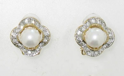 TWO/TONE CRYSTAL WITH PEARL EARRINGS