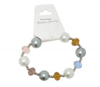 CRYSTAL AND PEARL BRACELETS.