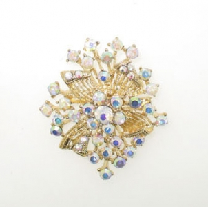 GOLD PLATED AB CRYSTAL BROOCH.