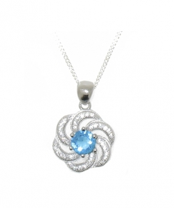925 STERLING PENDANT WITH BLUE TOPAZ CZ.
